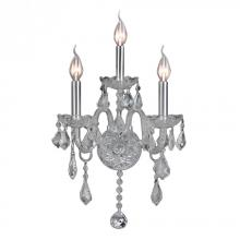 "Worldwide Lighting Corp W23103C13-CR - Provence Collection 3 Light Chrome Finish and Clear Crystal Candle Wall Sconce 13"" W x 18"" H"
