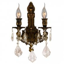 "Worldwide Lighting Corp W23314B12-GT - Versailles Collection 2 Light Antique Bronze Finish & Golden Teak Crystal Wall Sconce 12"" W x 13"