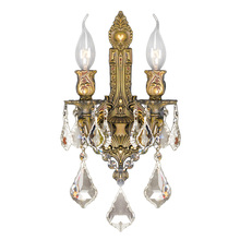 "Worldwide Lighting Corp W23314FG12-GT - Versailles Collection 2 Light French Gold Finish & Golden Teak Crystal Wall Sconce 12"" W x 13&#3"