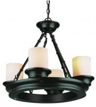 Trans Globe 3364 ROB - Four Light Rubbed Oil Bronze Tea Stain, Heavy Candle Glass Candle Chandelier