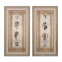 Sterling Industries 151-023/S2 - CARTOUCHE AND SHELLS I, II - HAND EMBELLISHED CANVAS USING MATTE AND GLOSS GELS