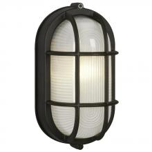 Galaxy Lighting 305014 BLK - Cast Aluminum Marine Light with Guard - Black w/ Frosted Glass