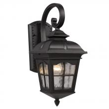 Galaxy Lighting 320286BK - 1-Light Outdoor Wall Mount Lantern - Black with Clear Water Glass