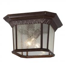 Galaxy Lighting 320379BZ - 2-Light Outdoor Flush Mount Ceiling Lantern - Bronze with Clear Seeded Glass