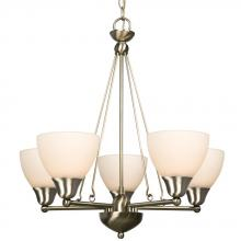 Galaxy Lighting 800503BN - Five Light Chandelier - Brushed Nickel w/ Frosted White Glass