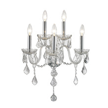 Worldwide Lighting Corp W23105C13-CR - Provence Collection 5 Light Chrome Finish with Clear Crystal Wall Sconce