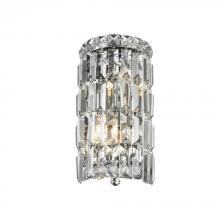 "Worldwide Lighting Corp W23510C6 - Cascade Collection 2 Light Chrome Finish Crystal Rounded Wall Sconce 6"" W x 12"" H Small ADA"
