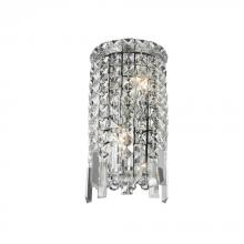 "Worldwide Lighting Corp W23610C6 - Cascade Collection 2 Light Chrome Finish Crystal Rounded Wall Sconce 6"" W x 13"" H ADA"