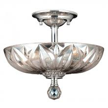 Worldwide Lighting Corp W33142C12-CL - Mansfield Collection 3 Light Chrome Finish and Clear Crystal Bowl Semi Flush Mount Ceiling Light 12&