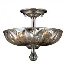 Worldwide Lighting Corp W33142C12-GT - Mansfield Collection 3 Light Chrome Finish and Golden Teak Crystal Bowl Semi Flush Mount Ceiling Lig