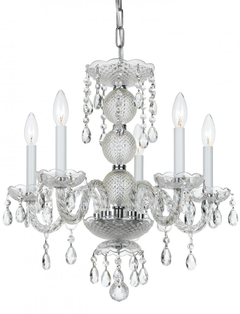 Village Lighting in Bellingham, Washington, United States,  2GLHX, Crystorama Traditional Crystal 5 Light Clear Crystal Chrome Mini Chandelier, Traditional Crystal