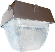 "RAB Lighting VAN5HH150PSQ/PC - VANDALPROOF 12"" X 12"" CEILING 150W MH PSQT HPF + 120V PC BZ"