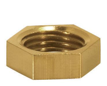 "Brass Hexagon Locknuts 1/8 IP 1/2"" Hex.,3/16"" Thick"