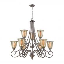 Thomas CN230927 - Georgetown 9 Light Chandelier In Weathered Zinc