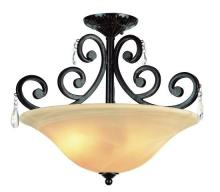 Trans Globe 9933 DBZ - Two Light Dark Bronze Champagne Swirl, Scalloped Edge, Ribbed Glass Bowl Semi-Flush Mount