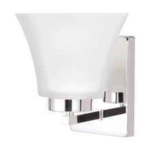 Sea Gull 4111601BLE-05 - Fluorescent Bayfield One Light Wall Sconce in Chrome with Satin Etched Glass