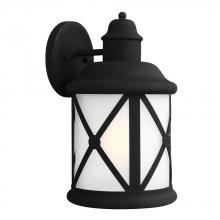 Sea Gull 8721401BLE-12 - Fluorescent Lakeview One Light Large Outdoor Wall Lantern in Black with Etched Seeded Glass