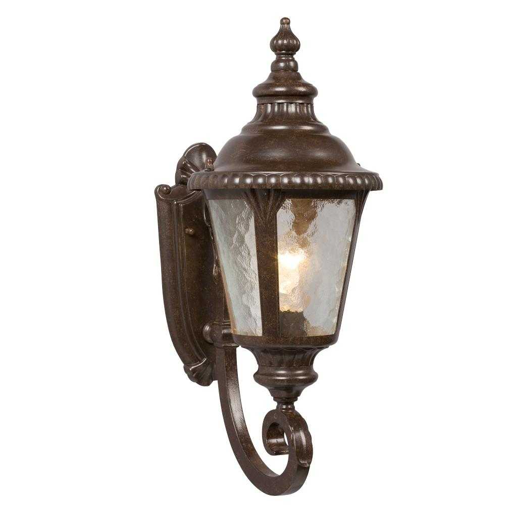 1-Light Outdoor Wall Mount Lantern - Bronze with Clear Water Glass