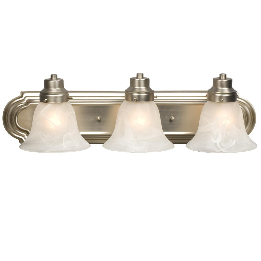 Village Lighting in Bellingham, Washington, United States,  4ZYCT, Three Light Vanity - Brushed Nickel with Marbled Glass, Belfast