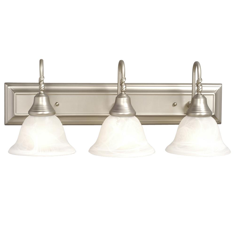 Three Light Vanity - Pewter W/ Frosted Alabaster Glass