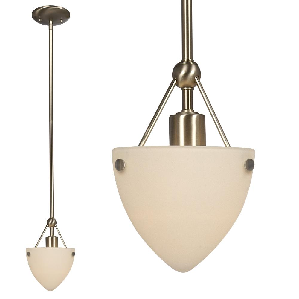"Mini Pendant W/6"",10"", 2X15"" Extension Rods - Brushed Nickel W/ Frosted White Glass"