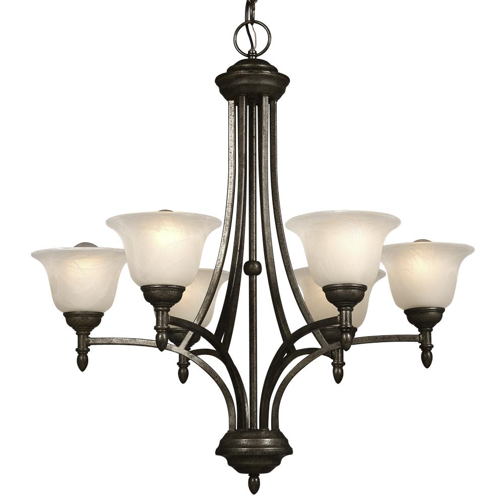 Village Lighting in Bellingham, Washington, United States,  50478, Six Light Chandelier - Medieval Bronze w/ Marbled Glass, Reagan
