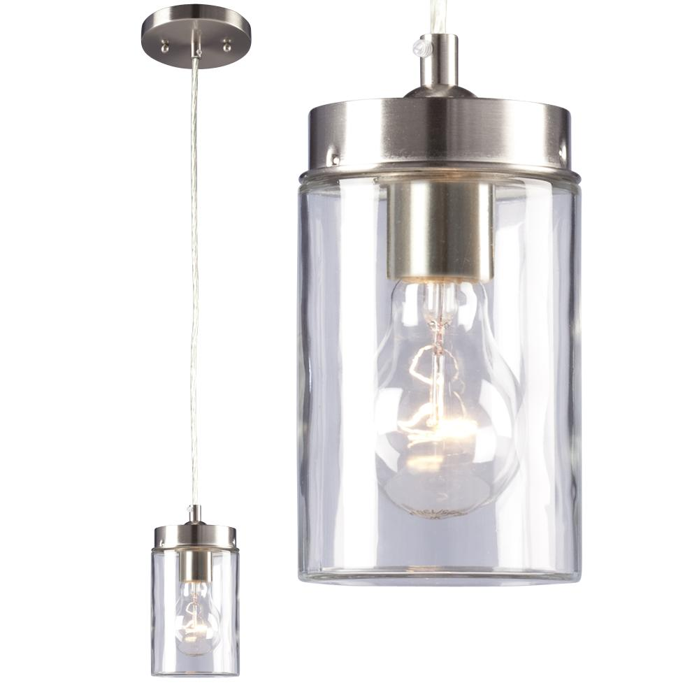 Village Lighting in Bellingham, Washington, United States,  533YN, 1-Light Mini-Pendant - in Brushed Nickel finish with Clear Glass Shade, Quentin