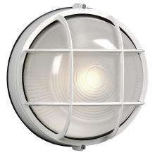 Galaxy Lighting 305011 WHT - Cast Aluminum Marine Light with Guard - White w/ Frosted Glass