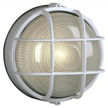 Galaxy Lighting 305012 WHT - Cast Aluminum Marine Light with Guard - White w/ Frosted Glass