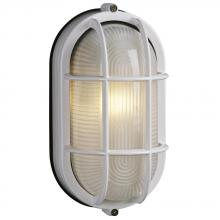 Galaxy Lighting 305014 WHT - Cast Aluminum Marine Light with Guard - White w/ Frosted Glass
