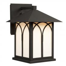 Galaxy Lighting 312041BK/WH - Outdoor Lantern - Black with White Glass