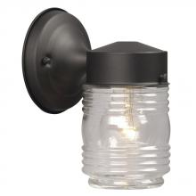 Galaxy Lighting 320107BLK - Outdoor Wall Fixture - Black w/ Clear Jam Jar Glass