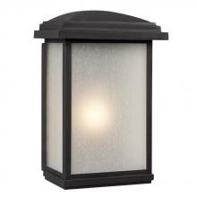 Galaxy Lighting 320690BK - 1-Light Outdoor Wall Mount Lantern - Black with Frosted Seeded Glass