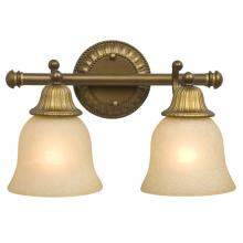 Galaxy Lighting 710482PAB - Two Light Vanity - Parisian Antique Brass with Light Tea Stain Glass