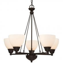 Galaxy Lighting 800503ORB - Five Light Chandelier - Oil Rubbed Bronze w/ Frosted White Glass