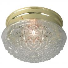 Galaxy Lighting 810209PB - Utility Light Clear Diamond Cut Mushroom Glass - Polished Brass