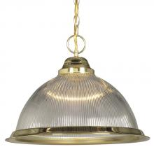 Galaxy Lighting 811509PB/CL - Pendant - Polished Brass w/ Clear Ribbed Glass