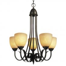 Galaxy Lighting 815445ORB - Five Light Chandelier - Oil Rubbed Bronze w/ Amber Glass