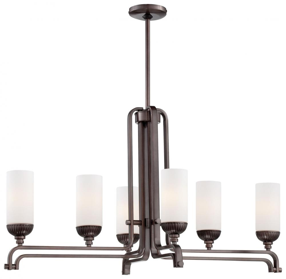 Six Light Etched White Glass Industrial Bronze Island Light