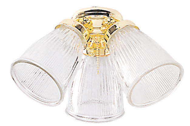 3 Light Fan Light Kit in White with Clear Ribbed Cone Glass