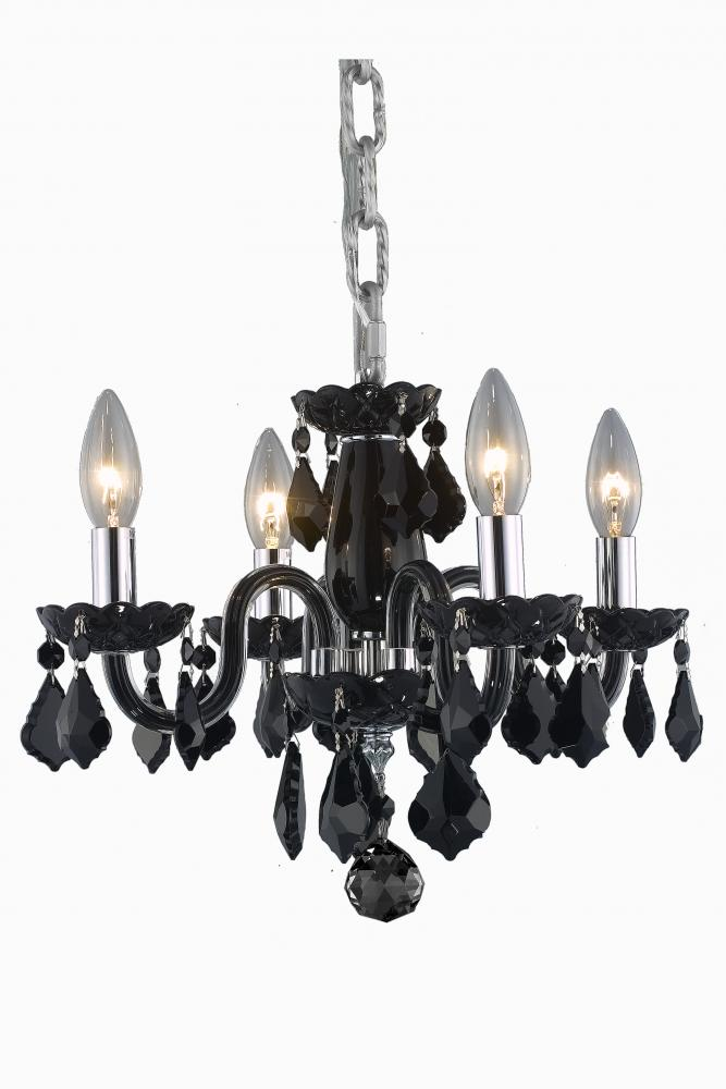 Village Lighting in Bellingham, Washington, United States,  HJT2A, 7804 Rococo Collection Hanging Fixture D15in H12in Lt:4 Black Finish (Royal Cut Jet), Rococo