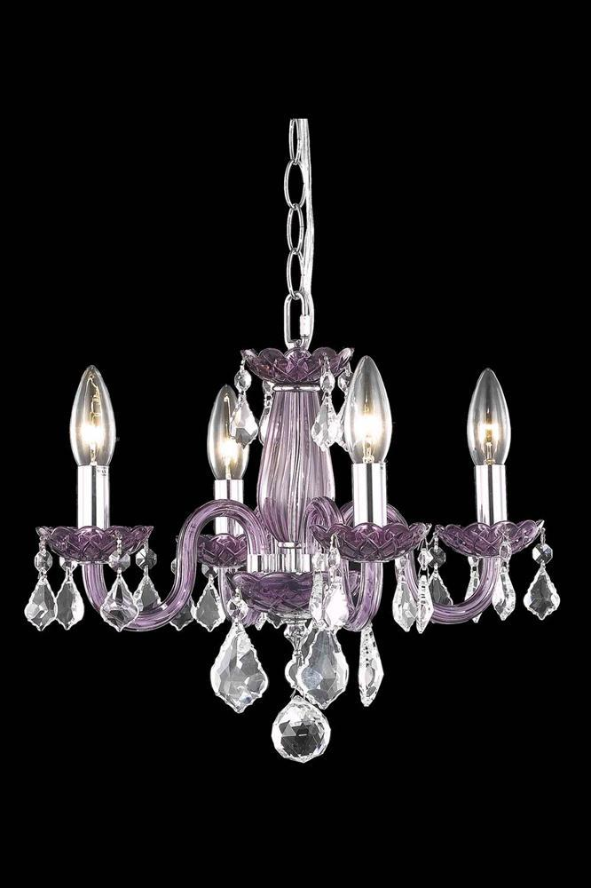 Village Lighting in Bellingham, Washington, United States,  HJT2G, 7804 Rococo Collection Hanging Fixture D15in H12in Lt:4 Purple Finish (Royal Cut Purple), Rococo