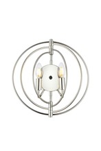 "Elegant 1453W13PN - 1453 Vienna Collection Wall Lamp W:13"" H:13"" E:6"" Lt:2 Polished Nickel Finish"