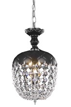 Elegant 7801D8B/RC - 7801 Rococo Collection Pendant D:8in H:13.5in Lt:1 Black Finish (Royal Cut Crystals)