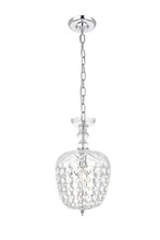 Elegant 7801D8C/RC - 7801 Rococo Collection Pendant D:8in H:13.5in Lt:1 Chrome Finish (Royal Cut Crystals)