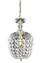 Elegant 7801D8G/RC - 7801 Rococo Collection Pendant D:8in H:13.5in Lt:1 Gold Finish (Royal Cut Crystals)
