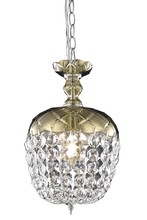 Elegant 7801D8GT/RC - 7801 Rococo Collection Pendant D:8in H:13.5in Lt:1 Golden Teak Finish (Royal Cut Crystals)
