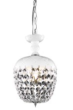 Elegant 7801D8WH/RC - 7801 Rococo Collection Pendant D:8in H:13.5in Lt:1 White Finish (Royal Cut Crystals)