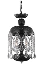 Elegant 7803D11B-JT/RC - 7803 Rococo Collection Pendant D:11in H:20.5in Lt:3 Black Finish (Royal Cut Crystals)