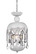 Elegant 7803D11WH/RC - 7803 Rococo Collection Pendant D:11in H:20.5in Lt:3 White Finish (Royal Cut Crystals)